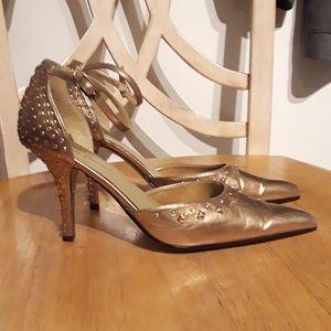 Gold Studded Pointy Toe Stilletos Women Size 10M